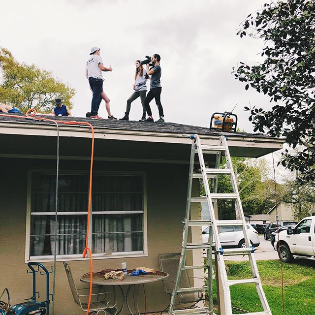 We'll do what it takes to get the story - even if we're afraid of heights! We sent Cassie and Garson to the hurricane-ravaged rooftops of Dickinson, TX to cover the massive relief effort organized by Eight Days of Hope and 4B in partnership with the Rebuild Texas Fund. With the tireless support of over 5,000 volunteers, more than a thousand homes were rebuilt or repaired in just 16 days! We're so glad we got to capture this incredible example of kindness in action.~~~~~~~~#RebuildTX #hurricaneHarvey #texasstrong #camera #film #filming #vsco #vscocam #filmlife #photography #videography #postproduction #filmmaking #nonprofit #setlife #productionlife #shooting #behindthescenes #onset #bts #instahub #instalike #instadaily #philanthropy #givingback